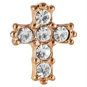 Picture of Rose Gold Crystal Cross Charm